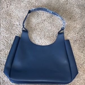 Neiman Marcus navy hard gel hand bag New